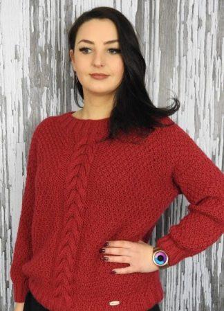 Sweter damski robiony ręcznie na drutacha