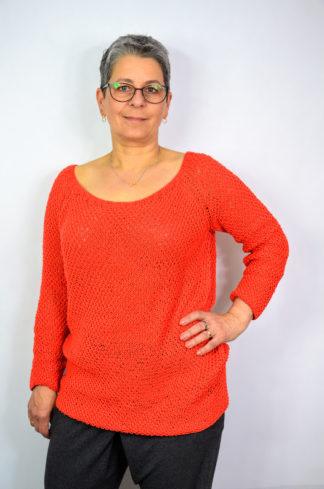 Sweter damski ręcznie robiony na drutach z bawełny