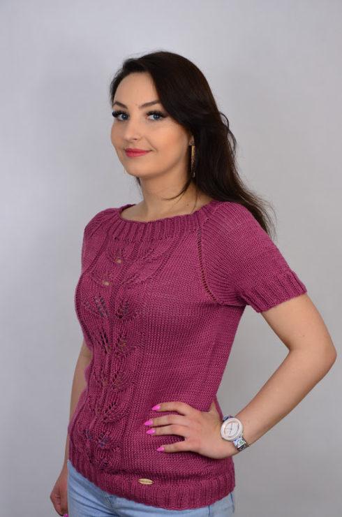 Bawełniana bluzka wykonana ręcznie na drutach z bawełny