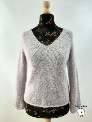 Sweter reglanowy z V-dekoltem (alpaka)