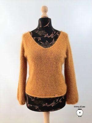 Sweter reglanowy z V-dekoltem