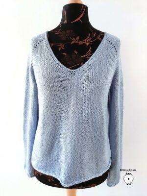 Bawełniany sweter reglanowy z V-dekoltem